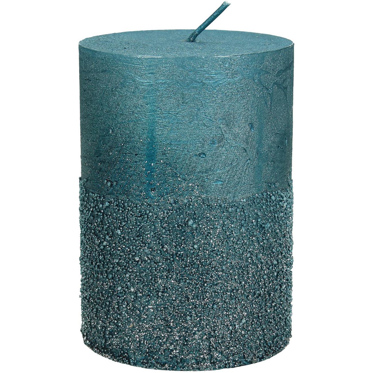 Petrol Glitter Pillar Candle7x10cm - Xmas-20 thumbnail