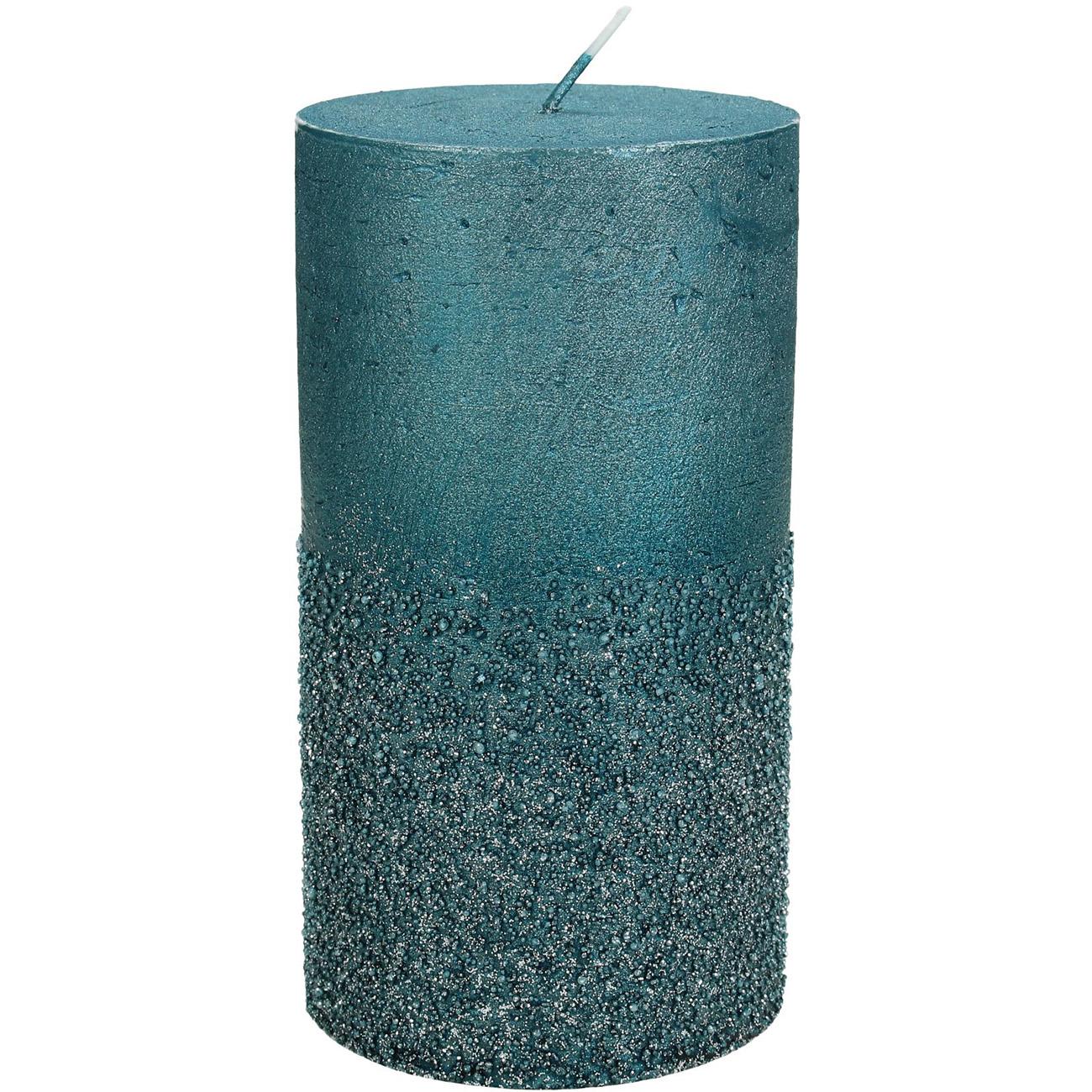 Petrol Glitter Pillar Candle7x13cm - Xmas-20 thumbnail