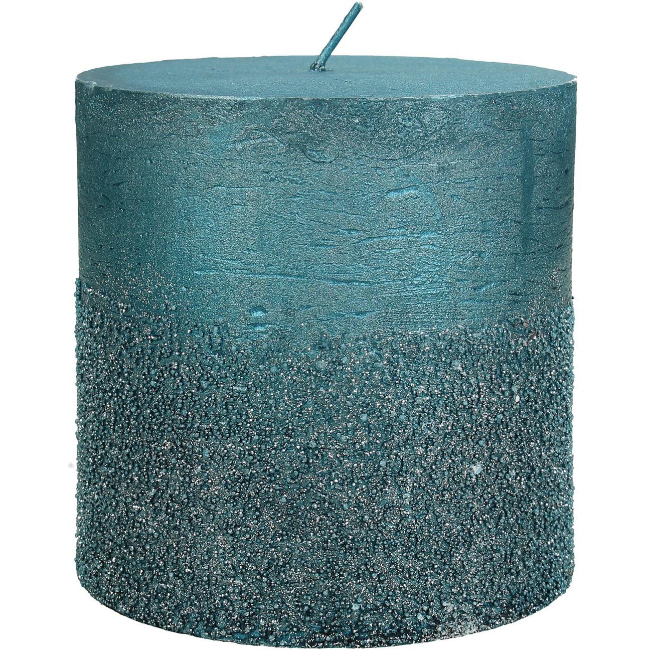 Petrol Glitter Pillar Candle 10x10cm - Xmas-20 thumbnail