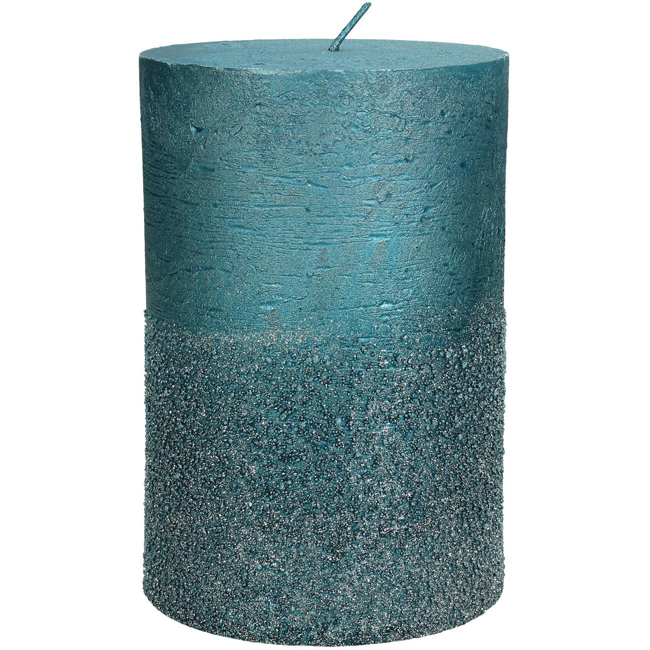 Petrol Glitter Pillar Candle 10x15cm - Xmas-20 thumbnail
