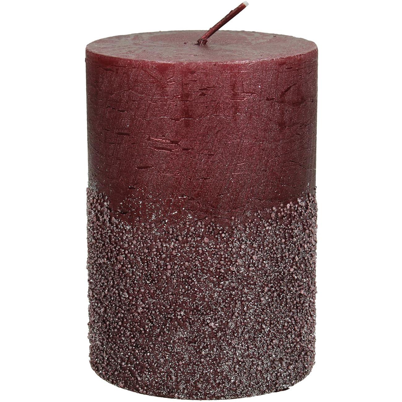 Burgundy Glitter Pillar Candle 7x10cm - Xmas-20 thumbnail