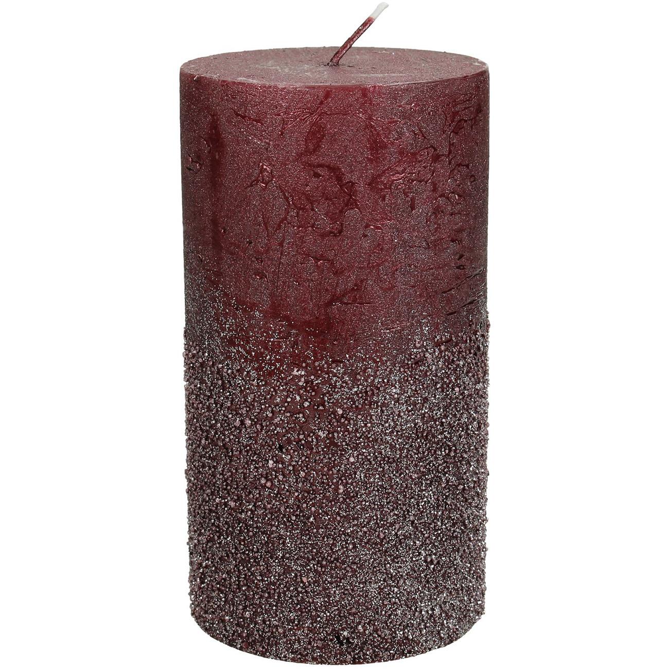 Burgundy Glitter Pillar Candle 7x13cm - Xmas-20 thumbnail