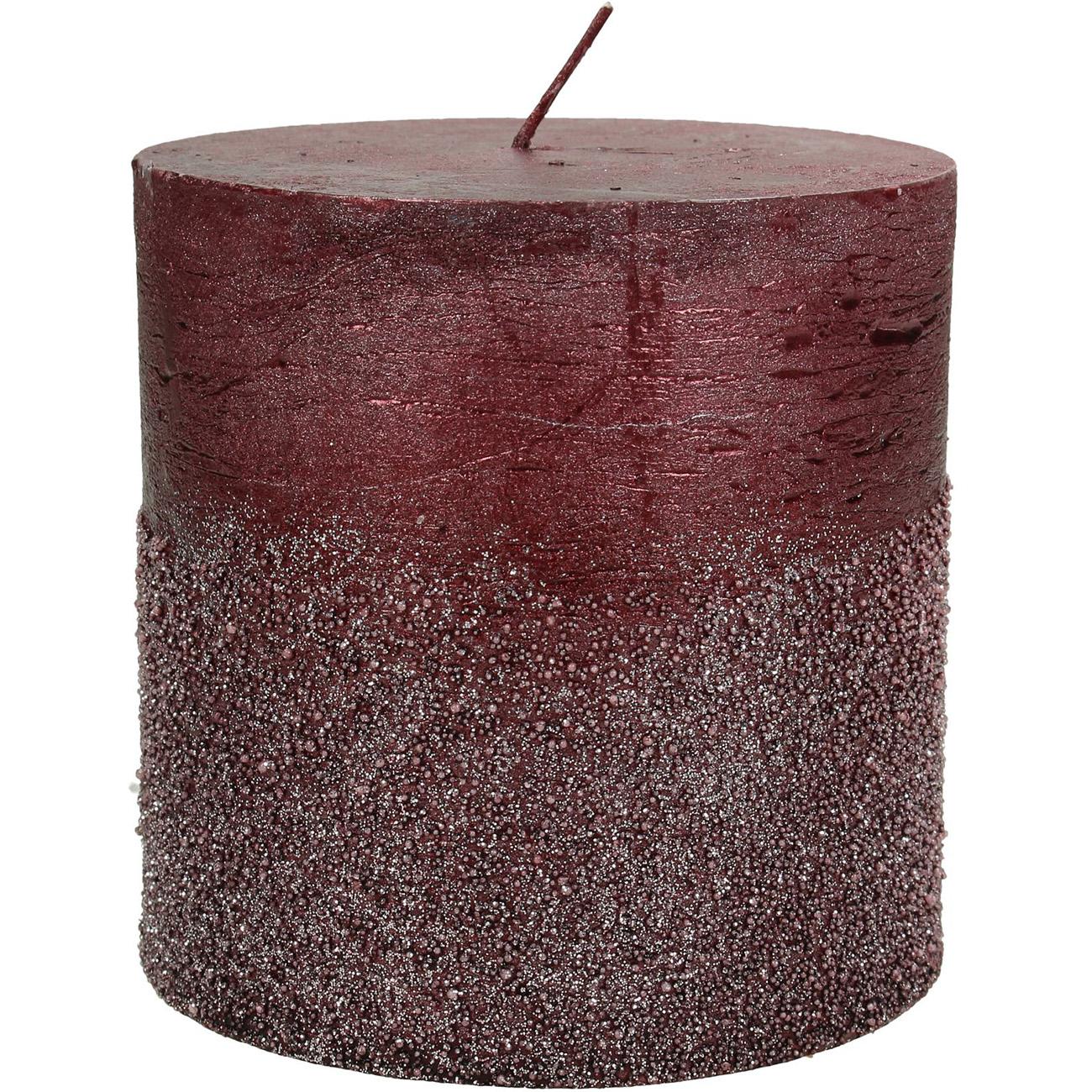 Burgundy Glitter Pillar Candle 10x10cm - Xmas-20 thumbnail