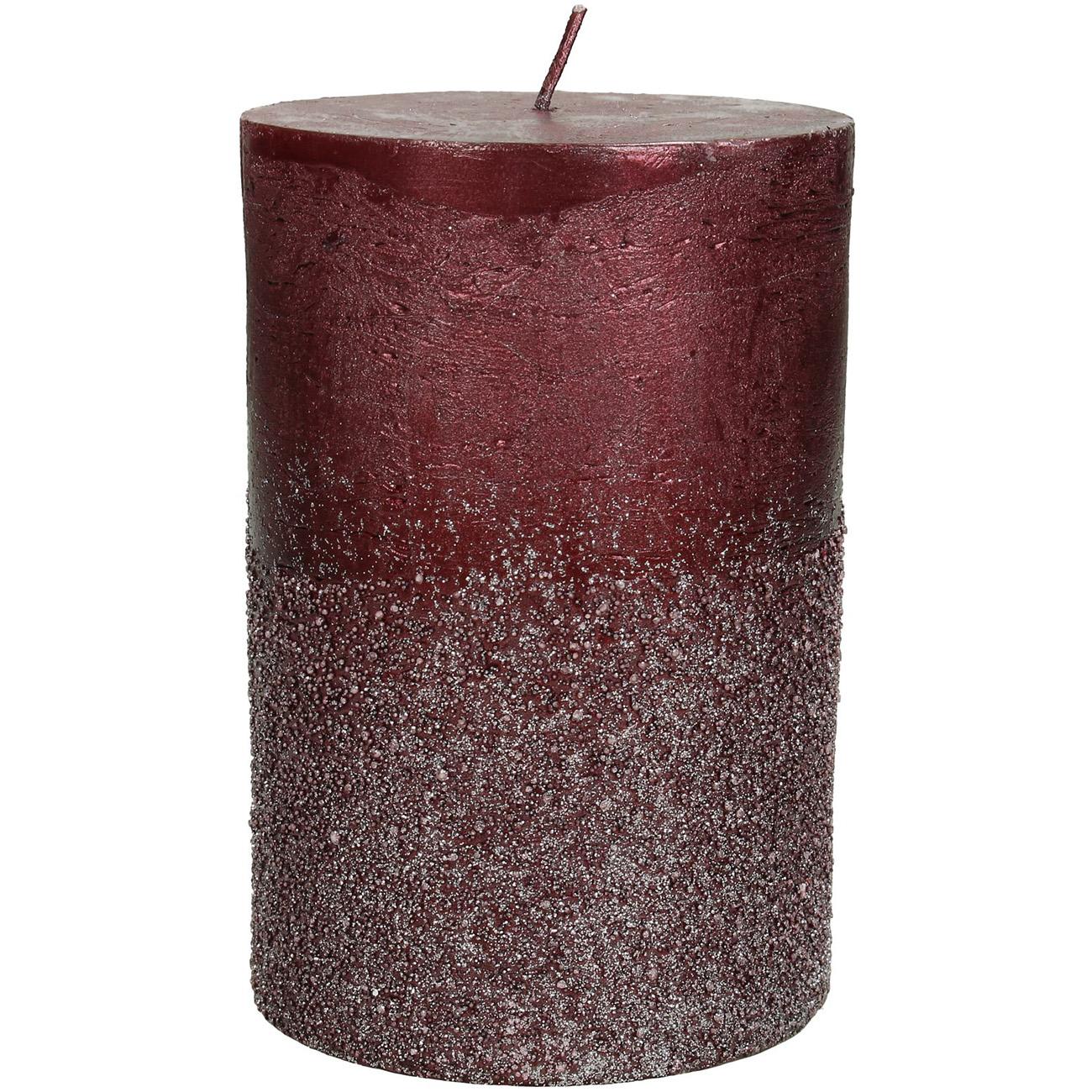Burgundy Glitter Pillar Candle 10x15cm - Xmas-20 thumbnail