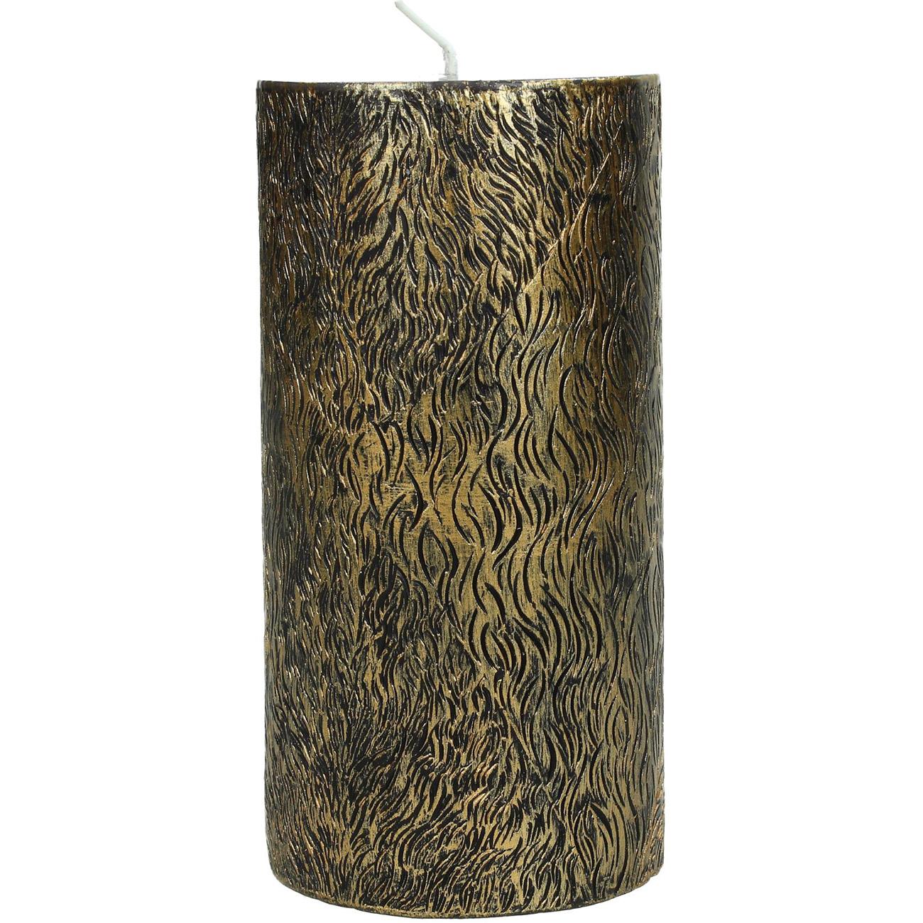 Gold Lion Skin Pillar Candle 7x15cm - Xmas-20 thumbnail