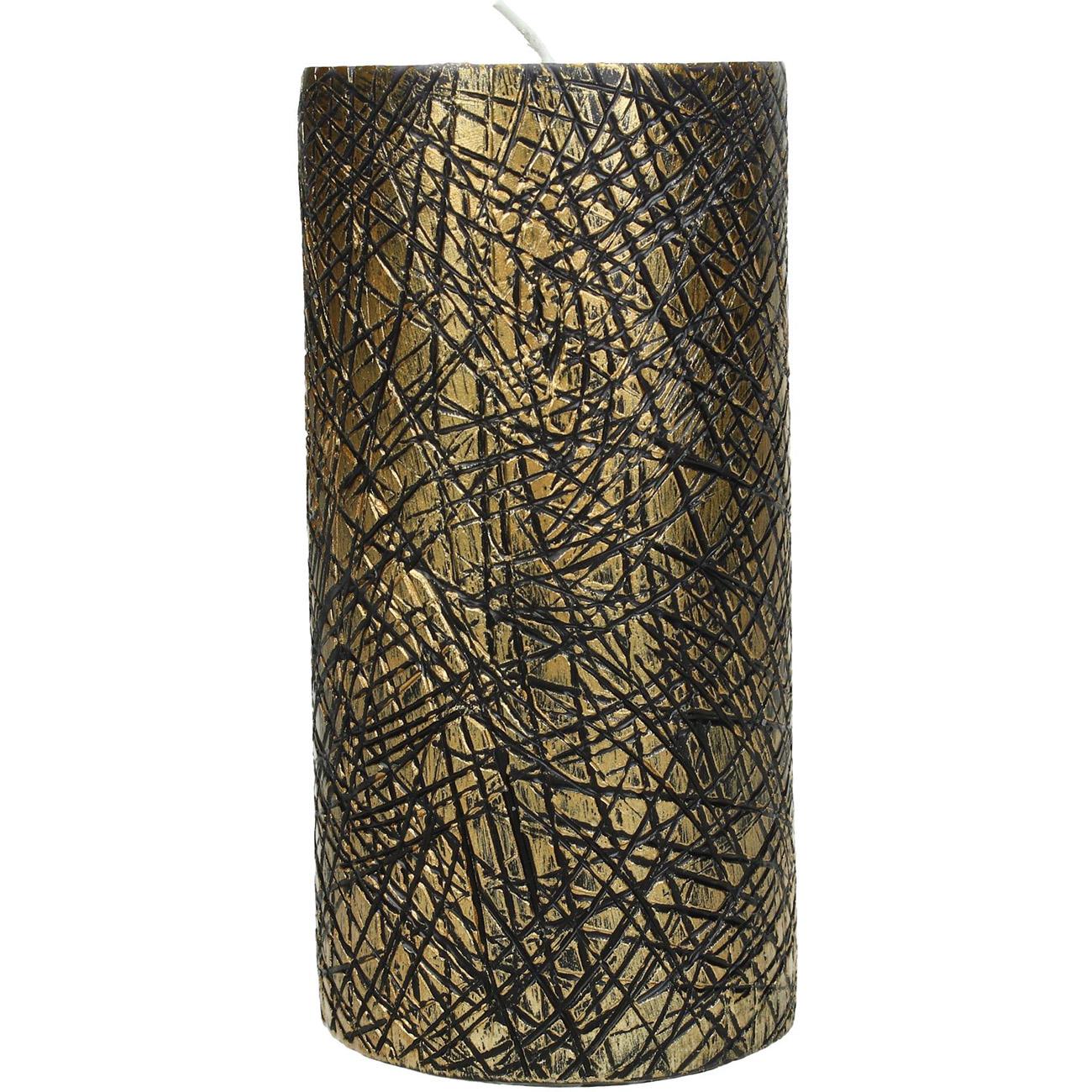 Gold Elephant Skin Pillar Candle 7x15cm - Xmas-20 thumbnail