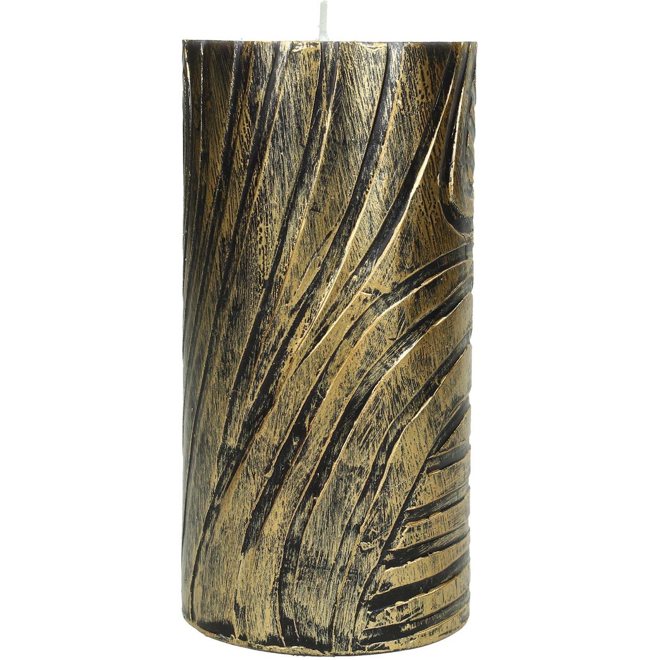 Gold Zebra Skin Pillar Candle 7x15cm thumbnail