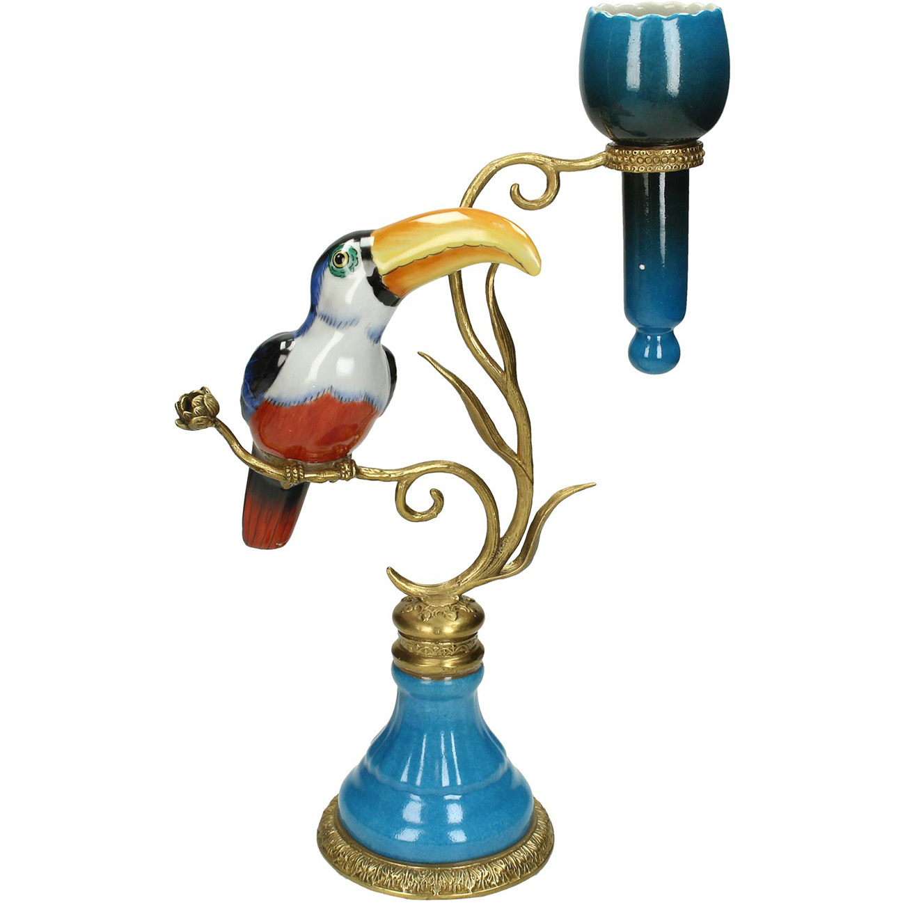 Colourful Blue Toucan Candlestick 35cm - Xmas-20 thumbnail