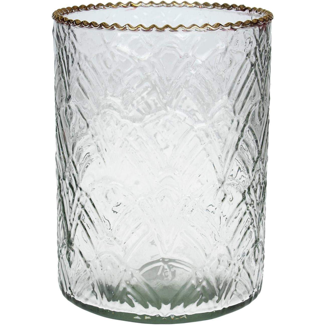 Gold Rim Clear Glass Votive Holder Large - Xmas-20 thumbnail