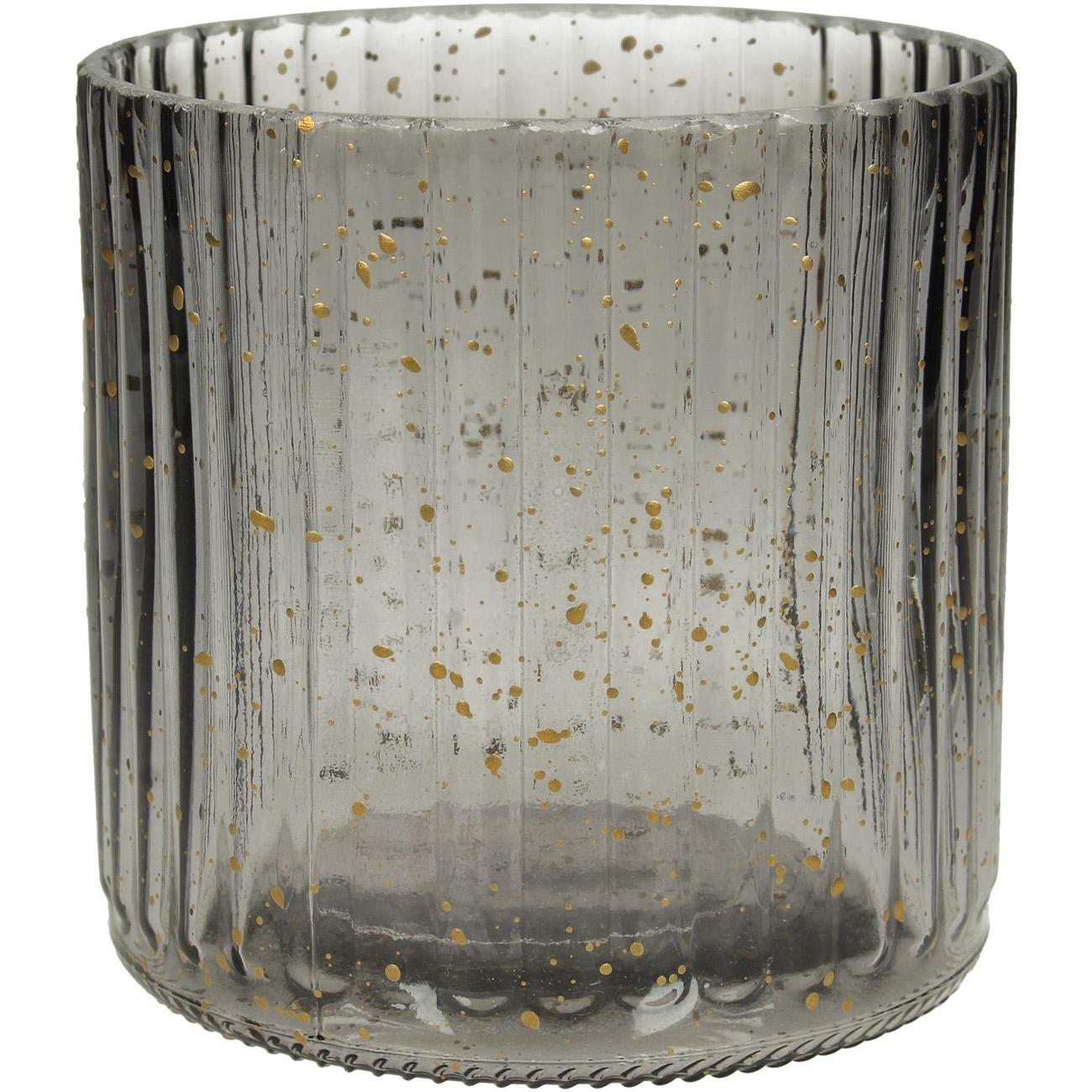 Grey Ribbed Glass Votive Holder Small - Xmas-20 thumbnail