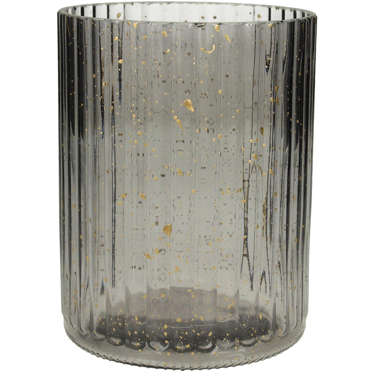 Grey Ribbed Glass Votive Holder Large - Xmas-20 thumbnail