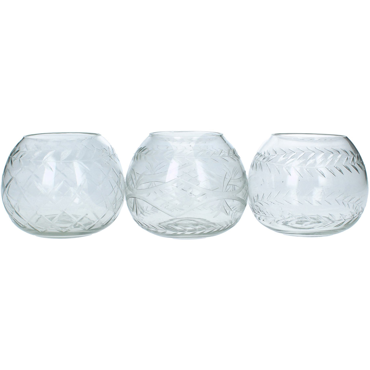 Set of 3 Hand Cut Glass Tealight Holders - Xmas-20 thumbnail