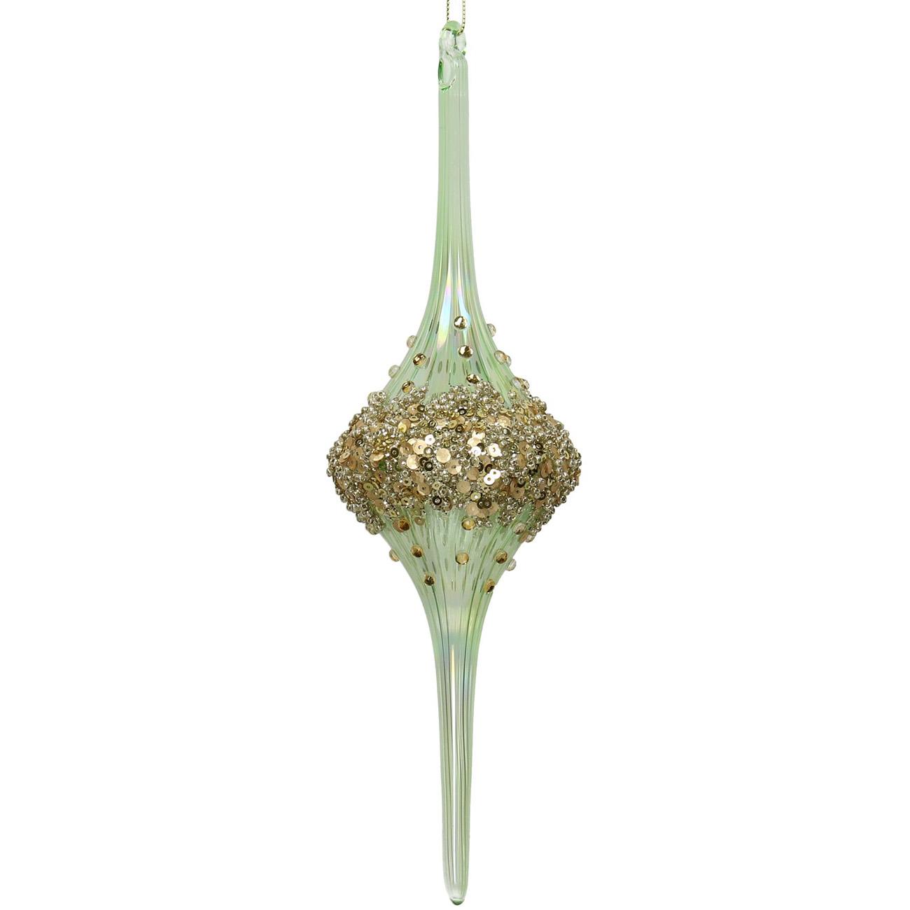 Green Long Beaded Glass Drop Ornament 26cm - Xmas-20 thumbnail