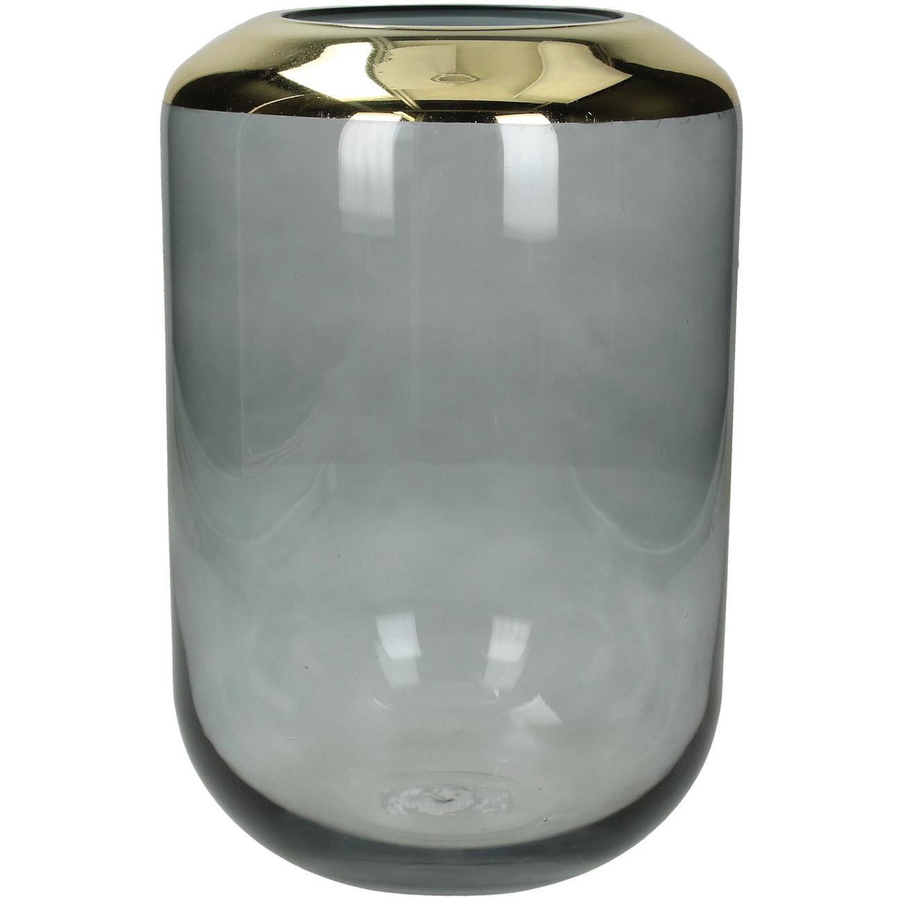Smoke Glass Vase with Gold Detail 25cm - Xmas-20 thumbnail