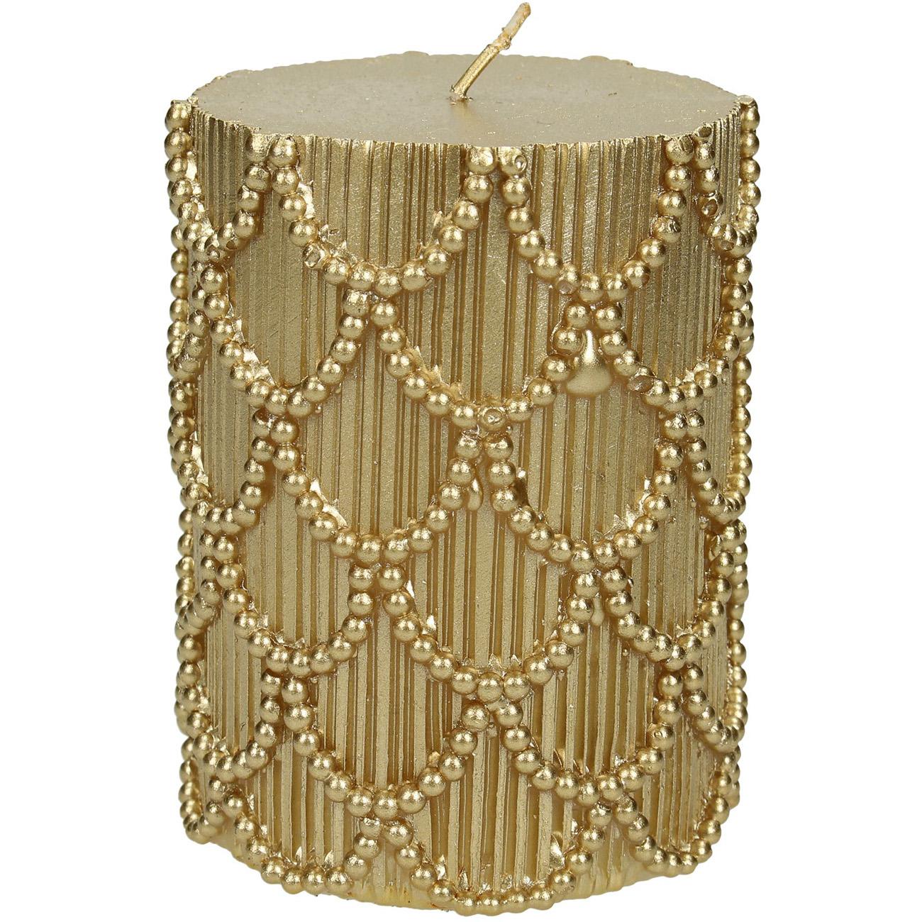 Gold Scallop Pillar Candle 7x10cm thumbnail