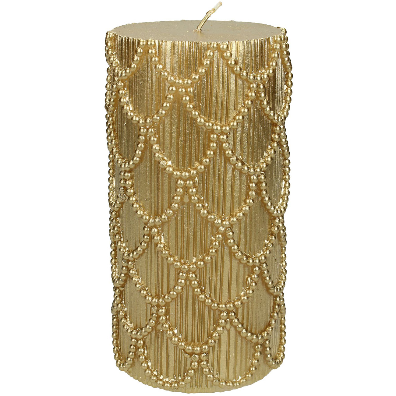 Gold Scallop Pillar Candle 7x15cm thumbnail