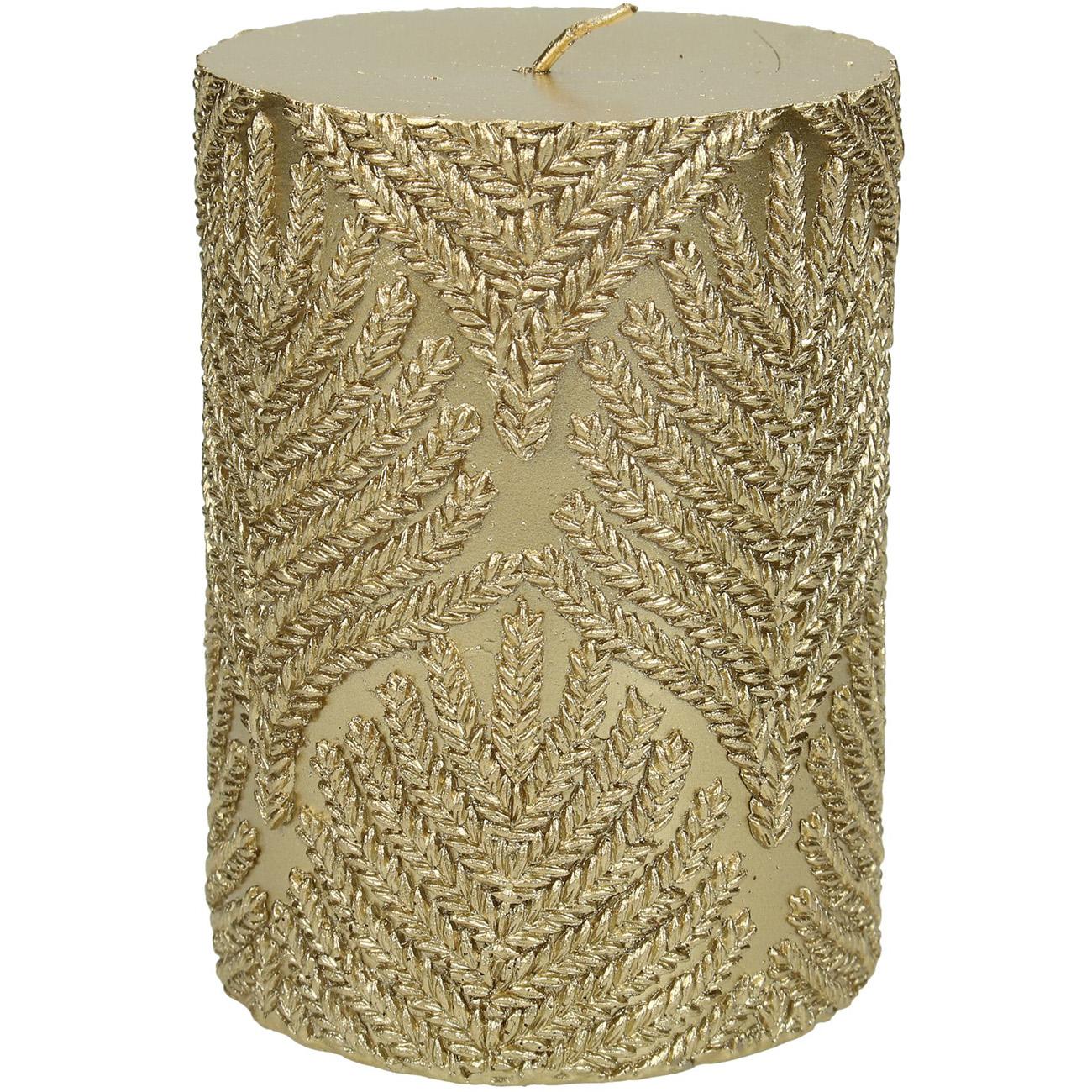 Gold Embossed Pillar Candle 7x10cm thumbnail
