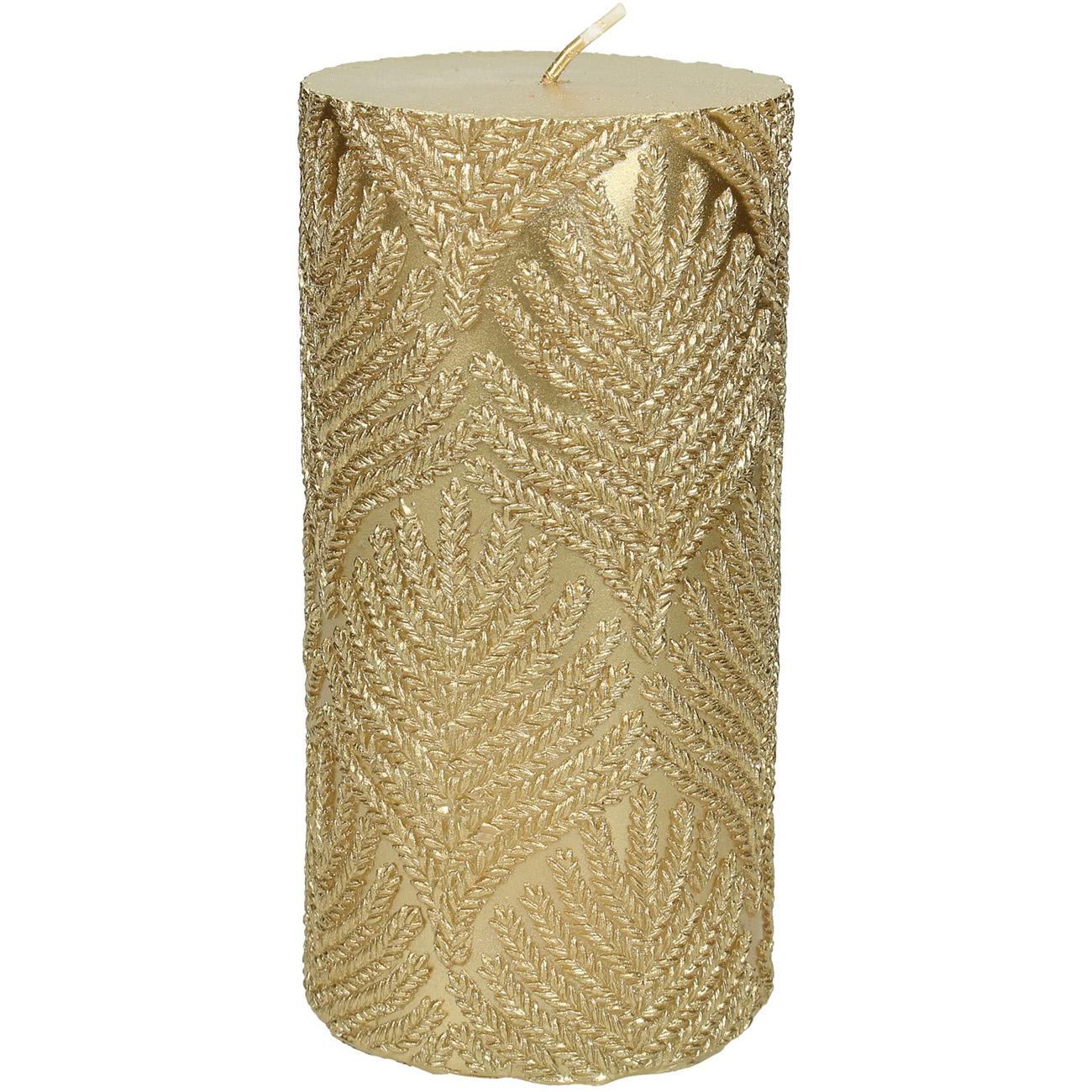 Gold Embossed Pillar Candle 7x15cm thumbnail
