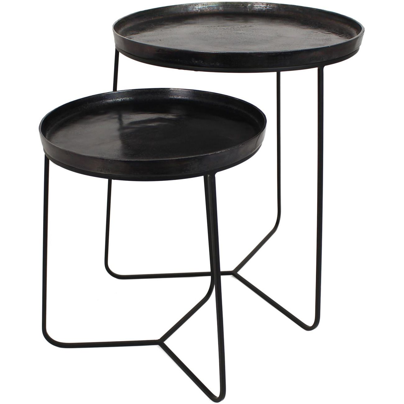 Black Metal Side Tables, Set of 2 thumbnail
