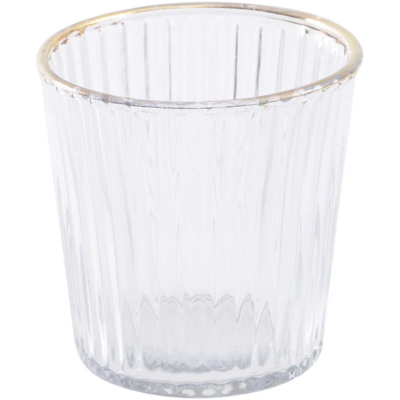 Linear Gold Rim Glass Tealight Holder thumbnail