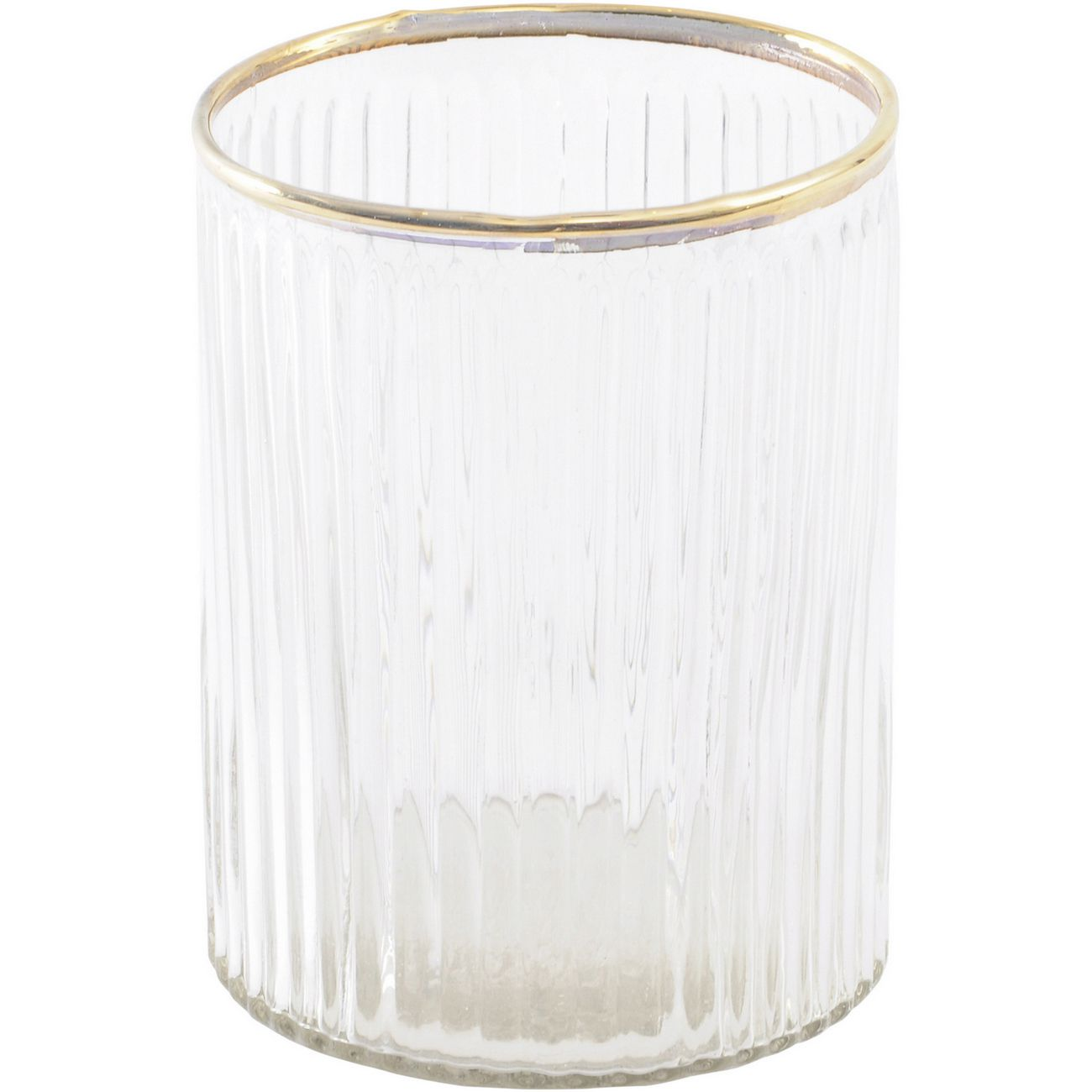 Linear Gold Rim Glass Votive Holder thumbnail