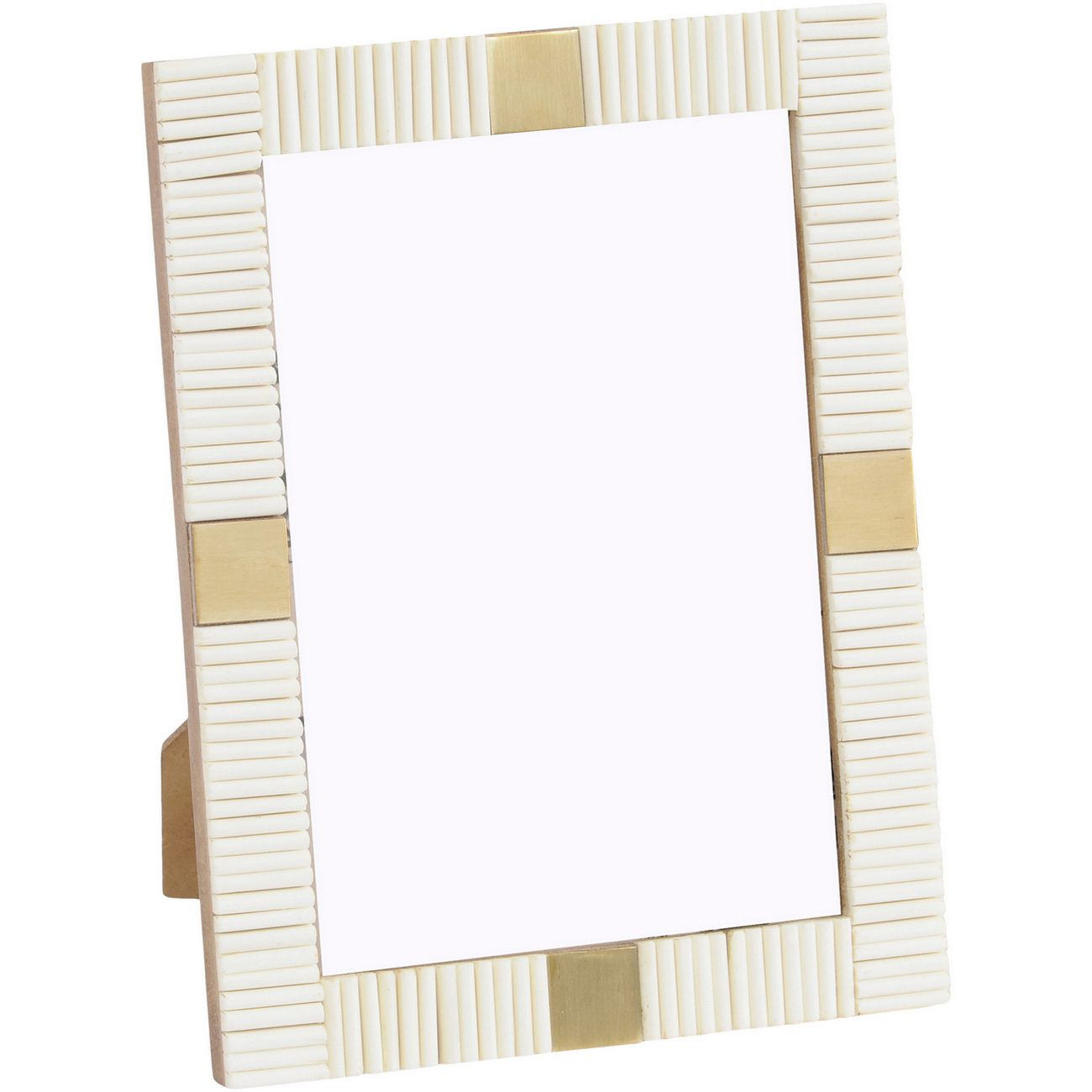 Ribbed 5x7 Inch Buffalo Bone Ivory And Brass Photo Frame thumbnail