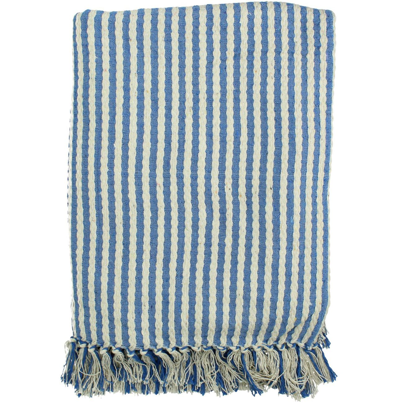 Blue and White Striped Cotton Throw, 130 x 170cm thumbnail
