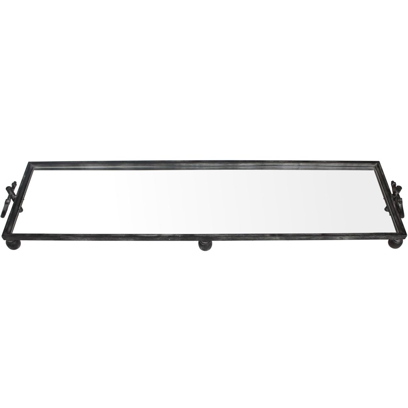 Black Metal Tray with Mirrored Base, Large thumbnail
