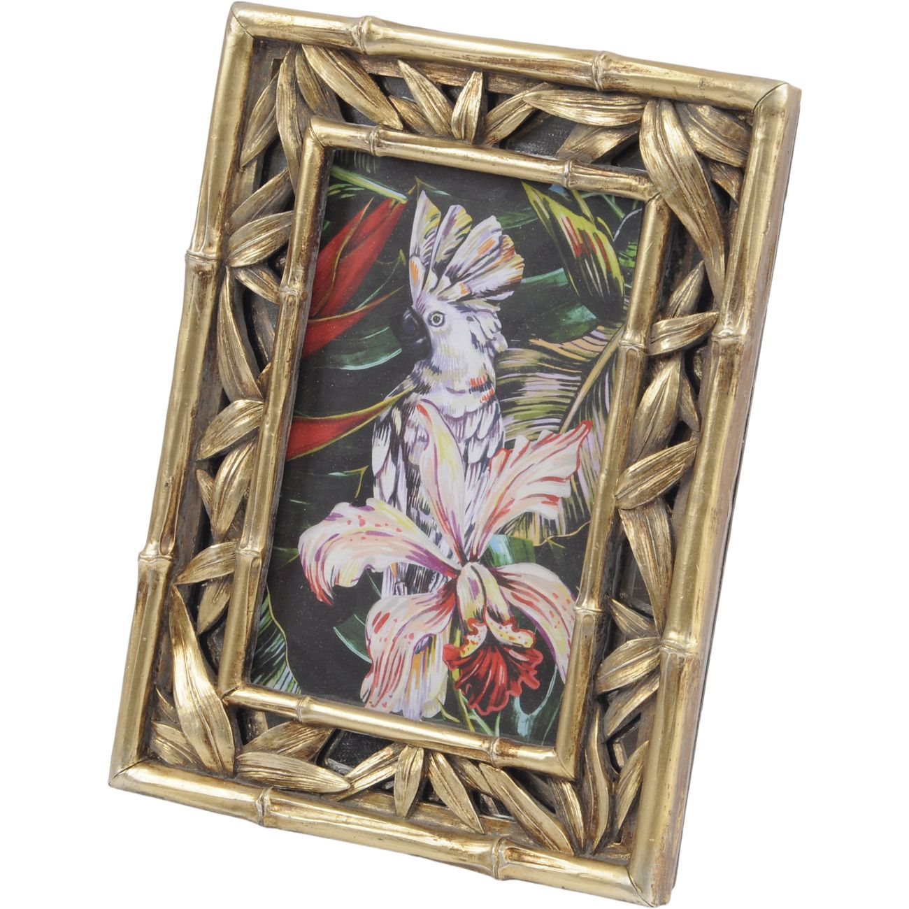 Bamboo and Leaf Gold Polyresin Photo Frame, 10x15cm thumbnail