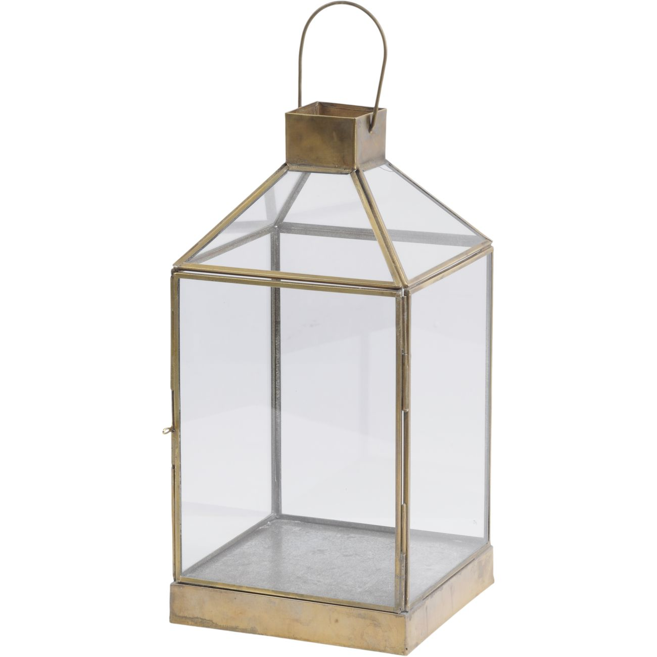 Glass Lantern with Gold Metal Frame, Small thumbnail