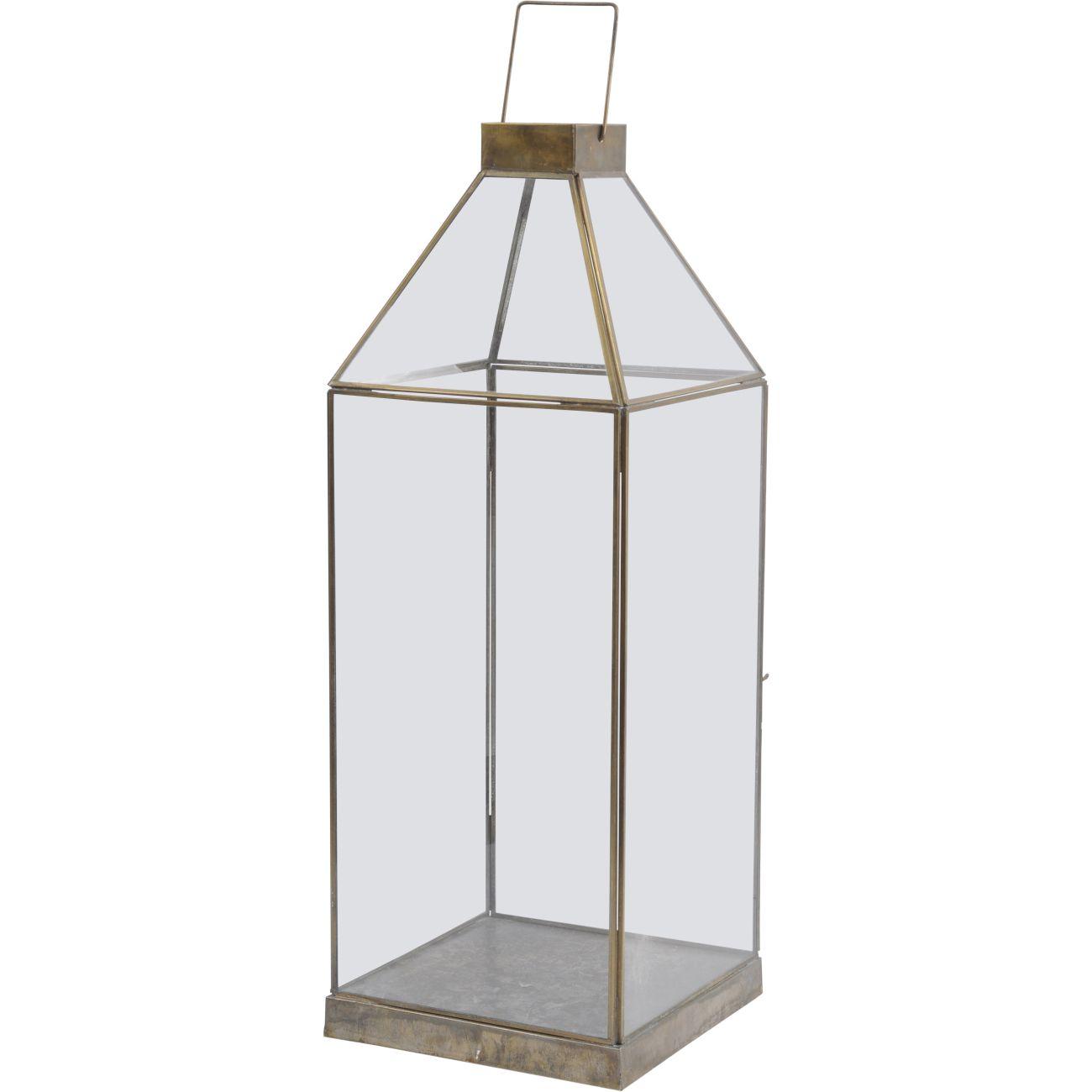 Glass Lantern with Gold Metal Frame, Large thumbnail