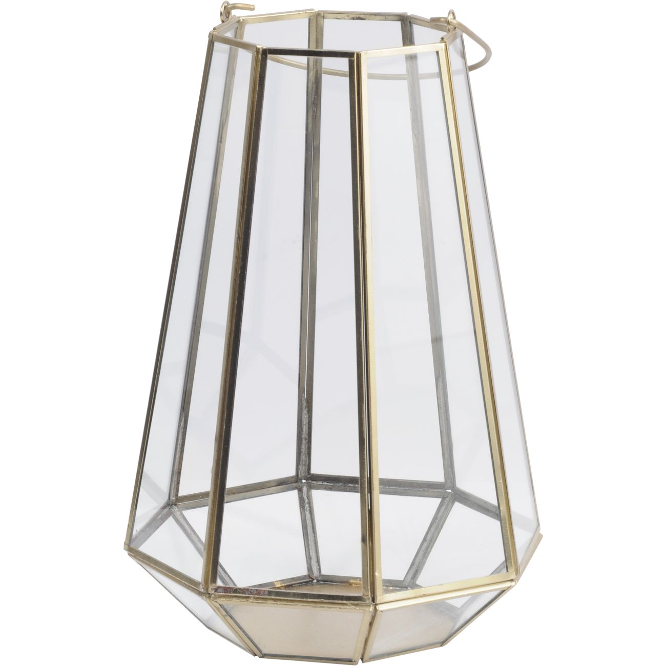 Octagonal Glass Lantern with Gold Metal Frame, Small thumbnail