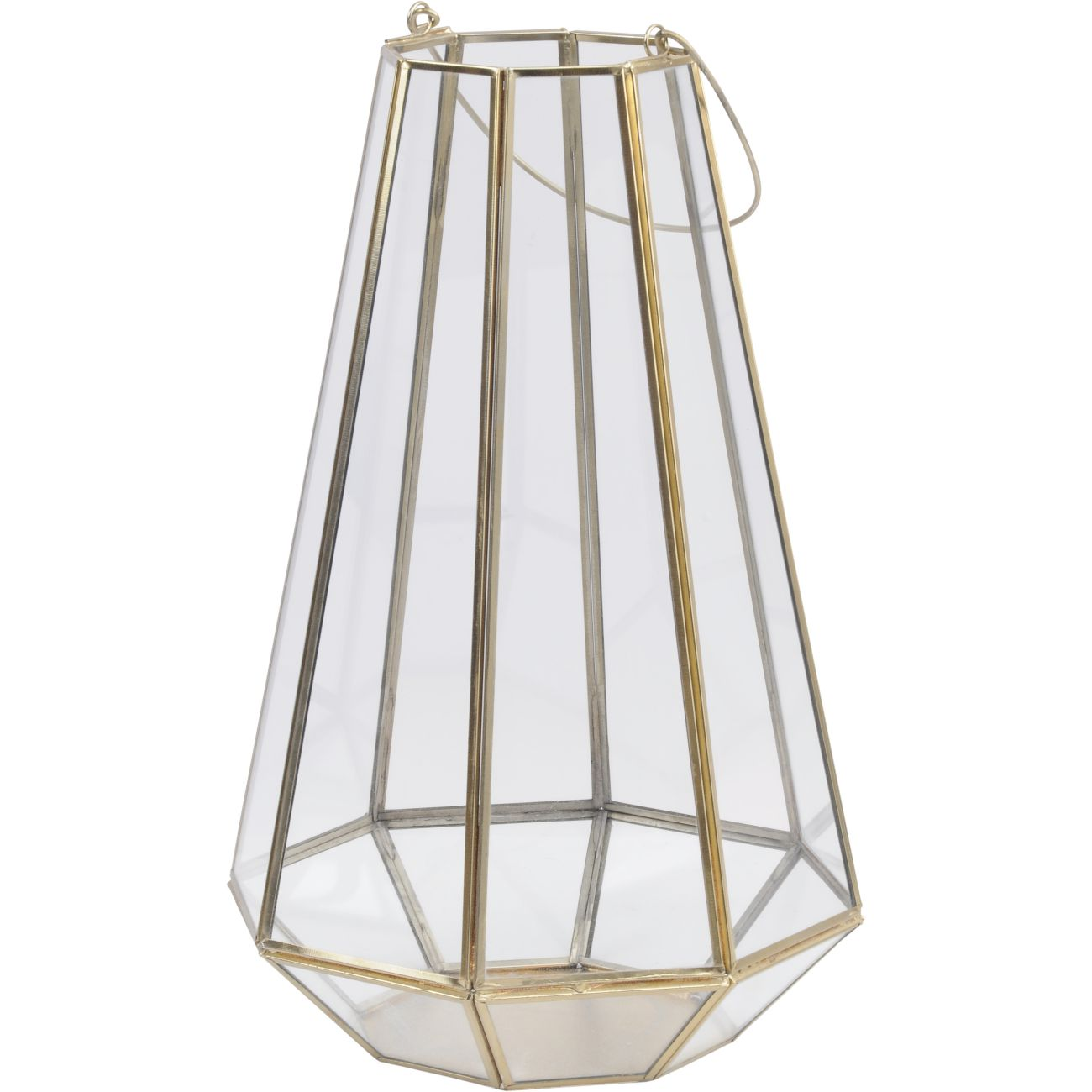 Octagonal Glass Lantern with Gold Metal Frame, Large thumbnail