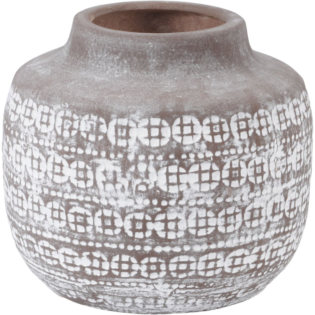 Patterned Terracotta Vase in Brown and White, Small thumbnail