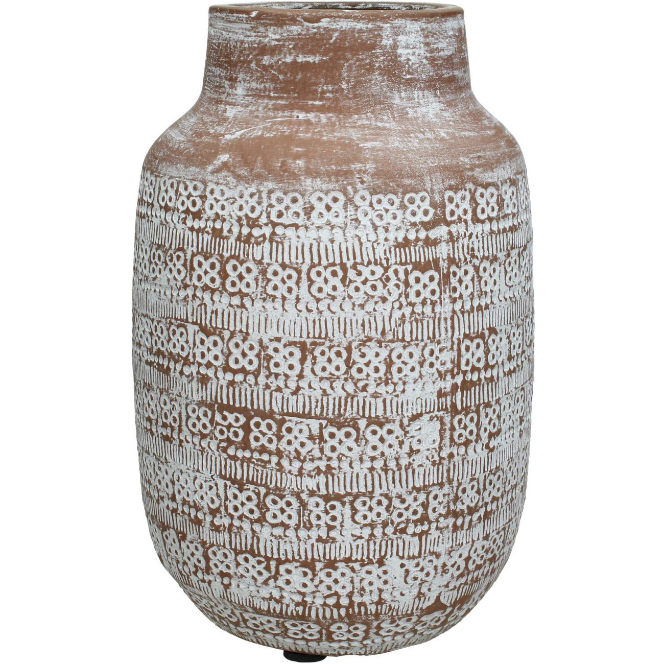 Patterned Terracotta Vase in Brown and White, Large thumbnail