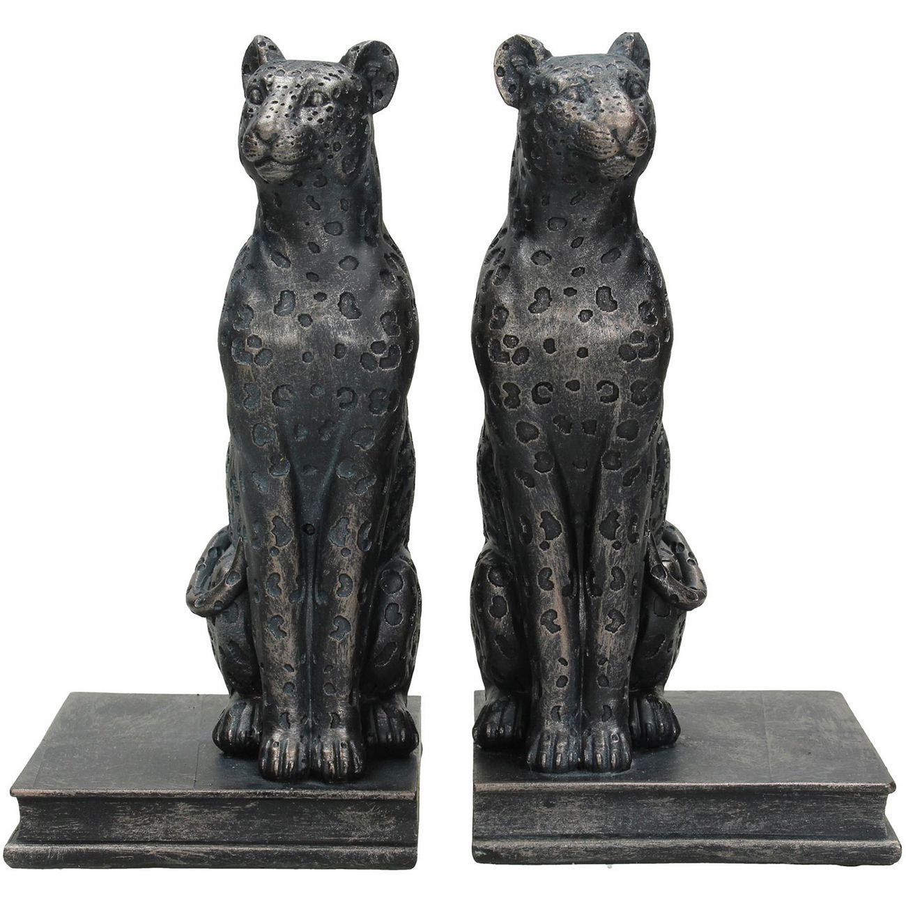 Amur Leopard Book Ends in Black Resin thumbnail
