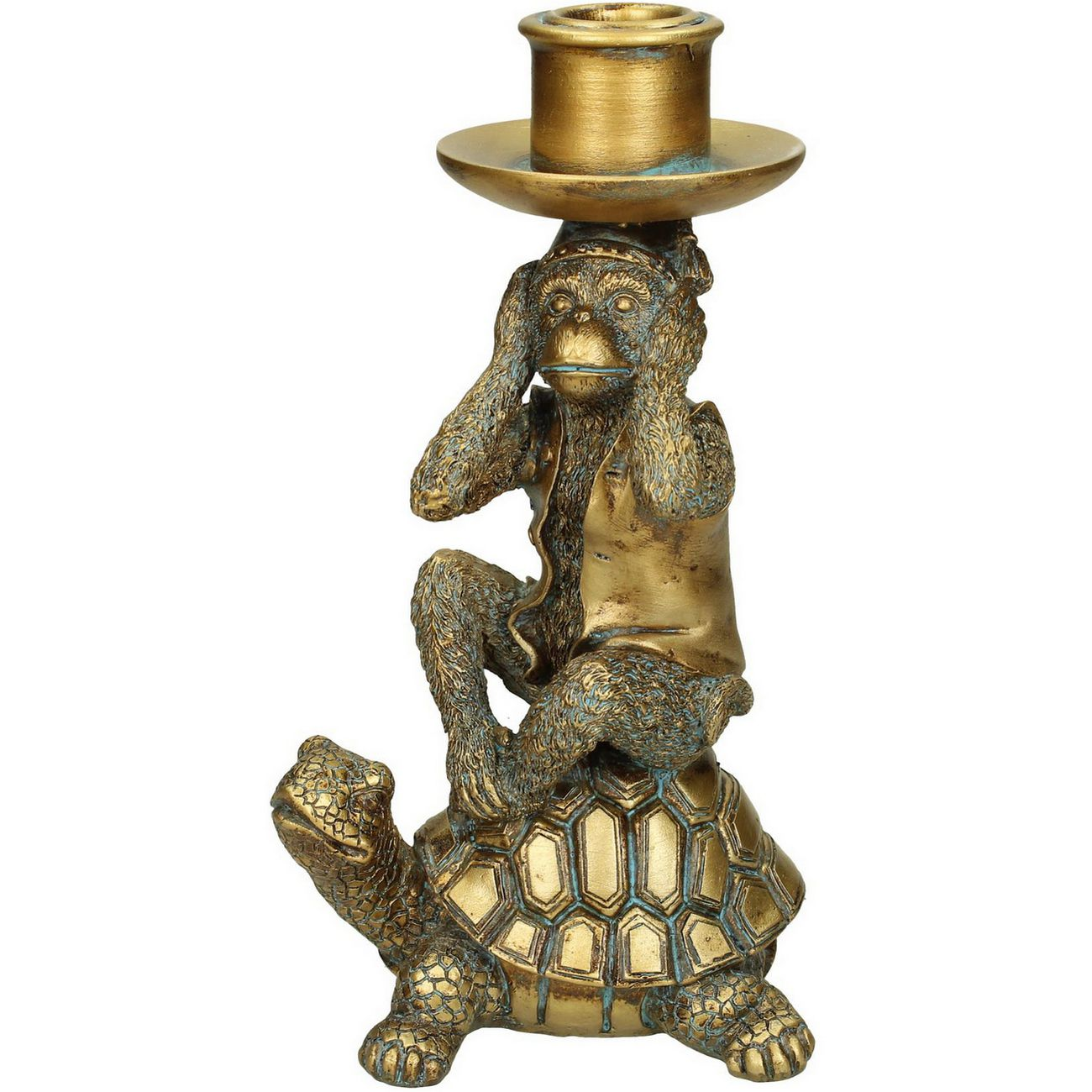 Monkey And Tortoise Gold Resin Candlestick Small thumbnail