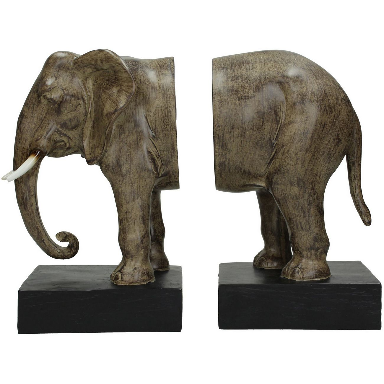 Brown And Black Elephant Resin Bookends thumbnail