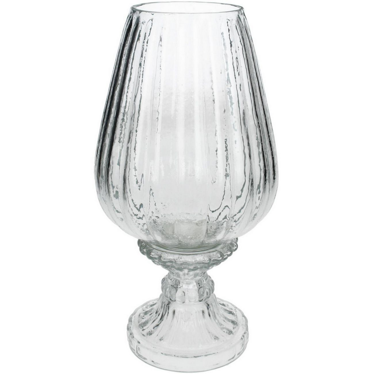 Clear Ribbed Glass Stemmed Hurricane Small thumbnail