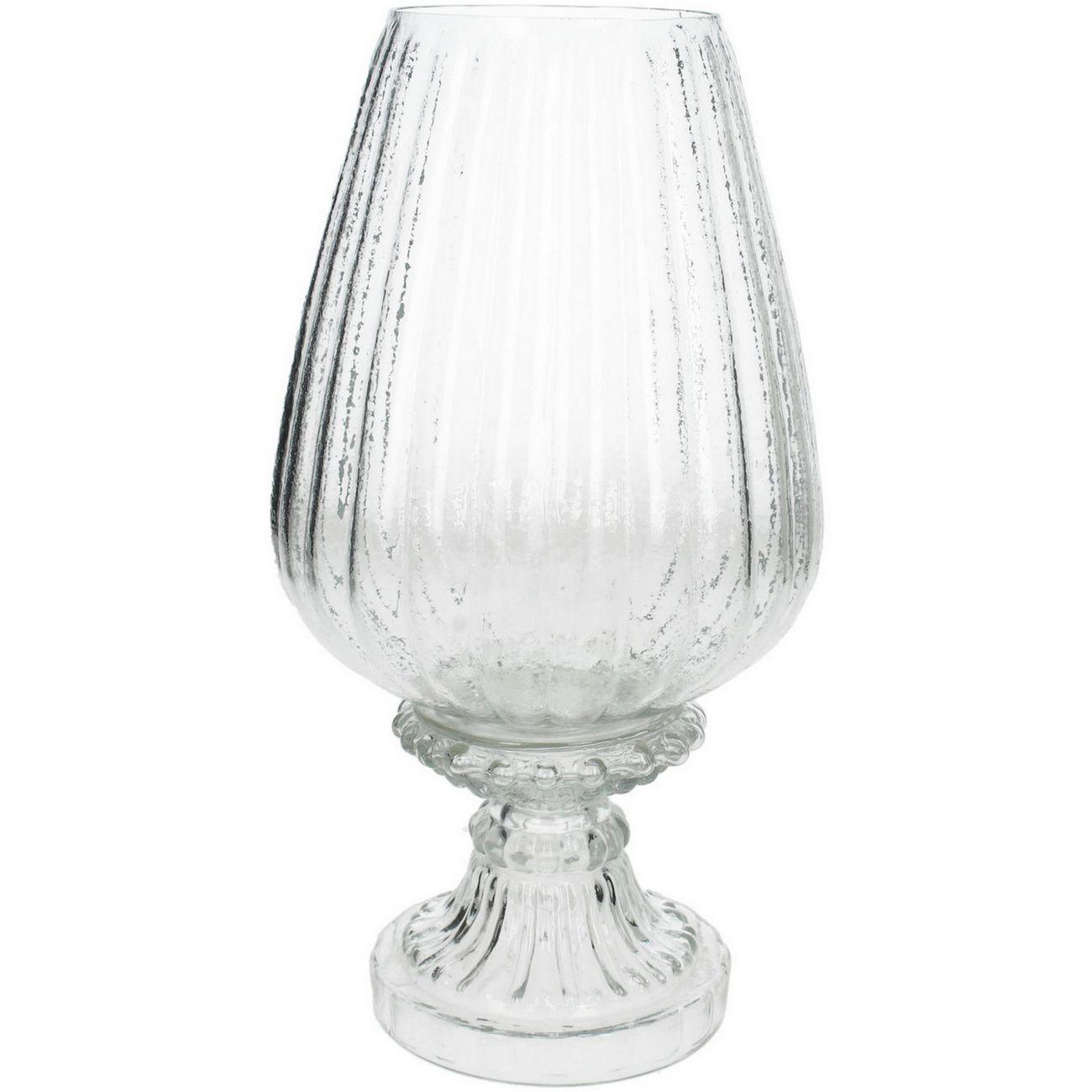 Clear Ribbed Glass Stemmed Hurricane Medium thumbnail