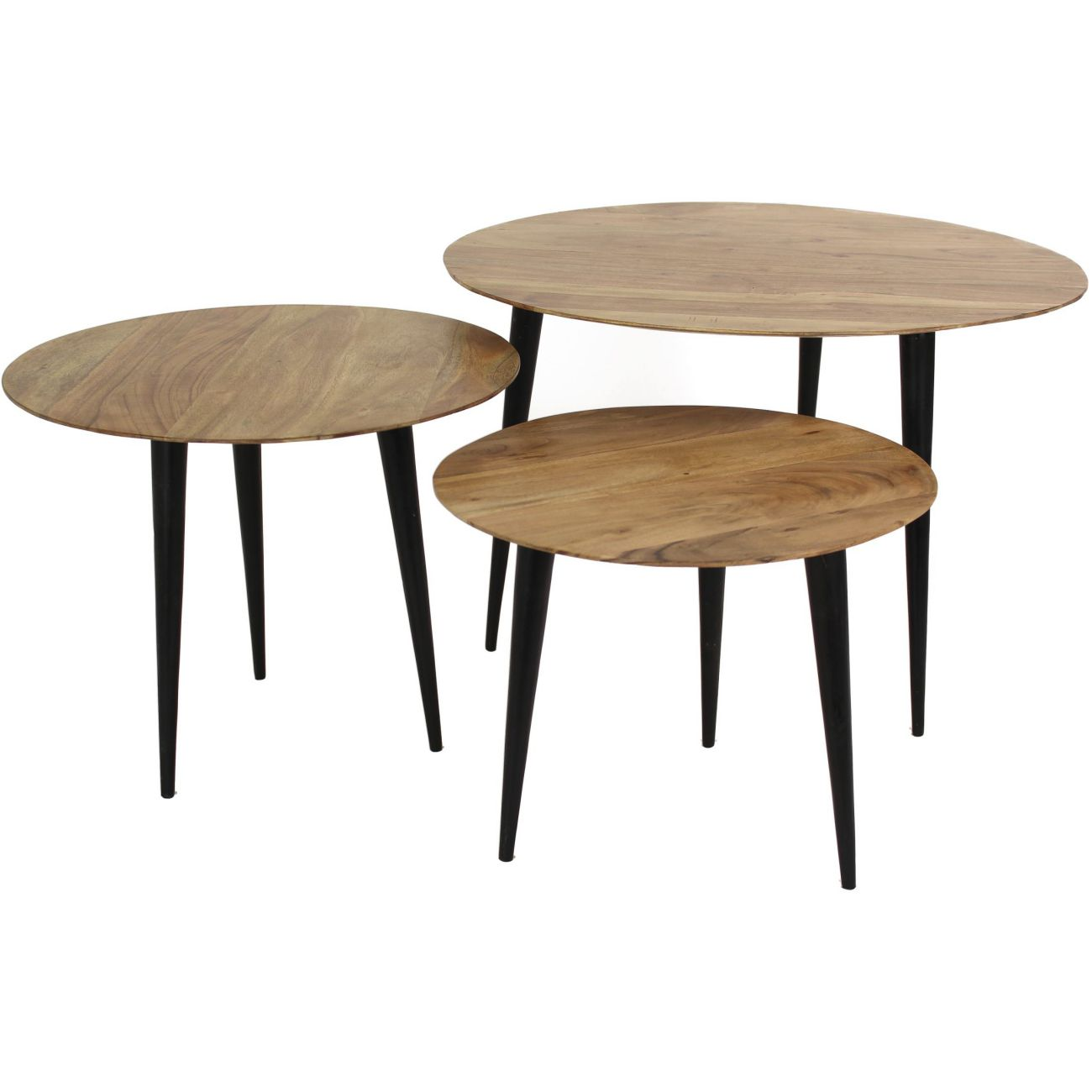 Brown and Black Wooden Nesting Tables, Set of 3 thumbnail