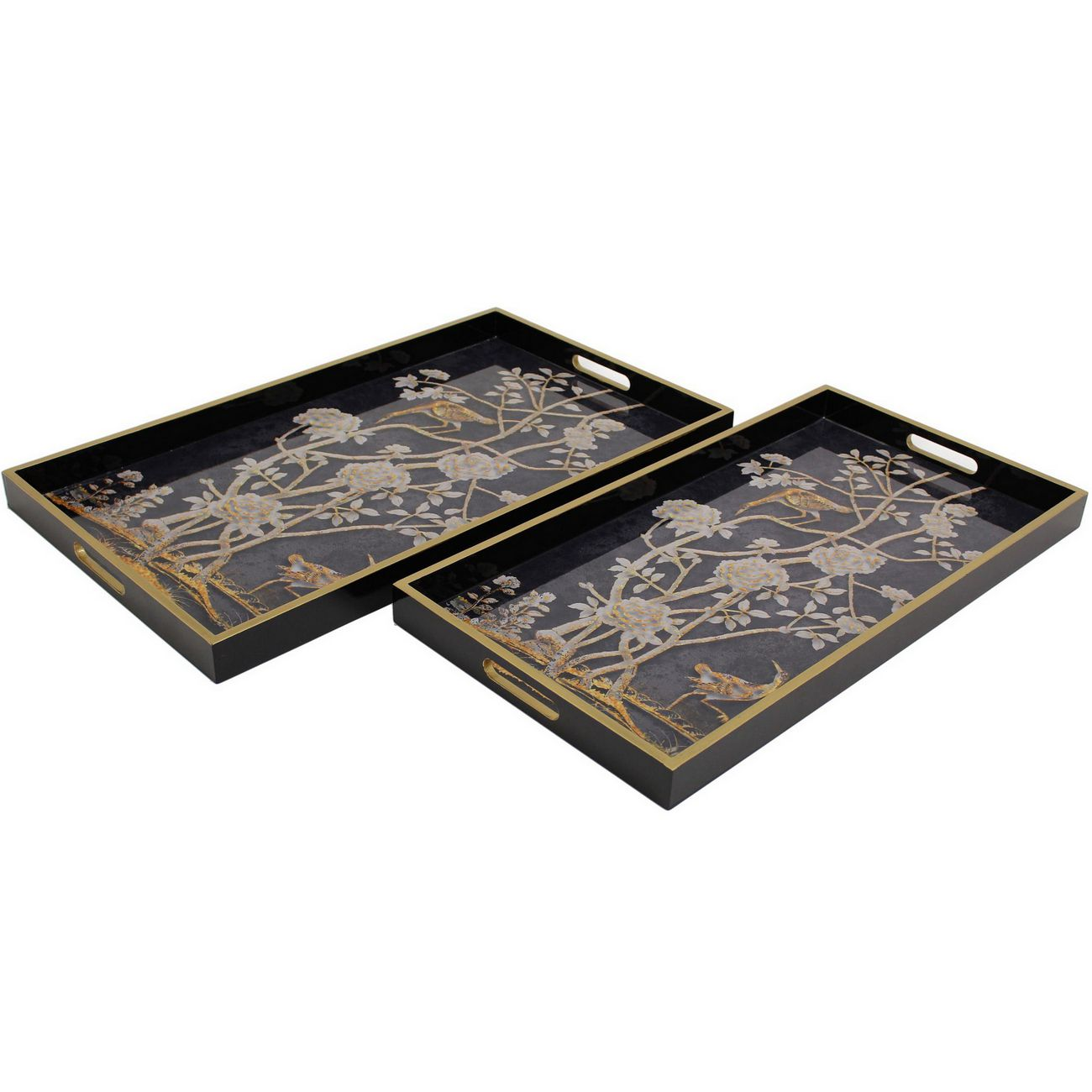 Asha Bird Black Set Of Two Trays thumbnail