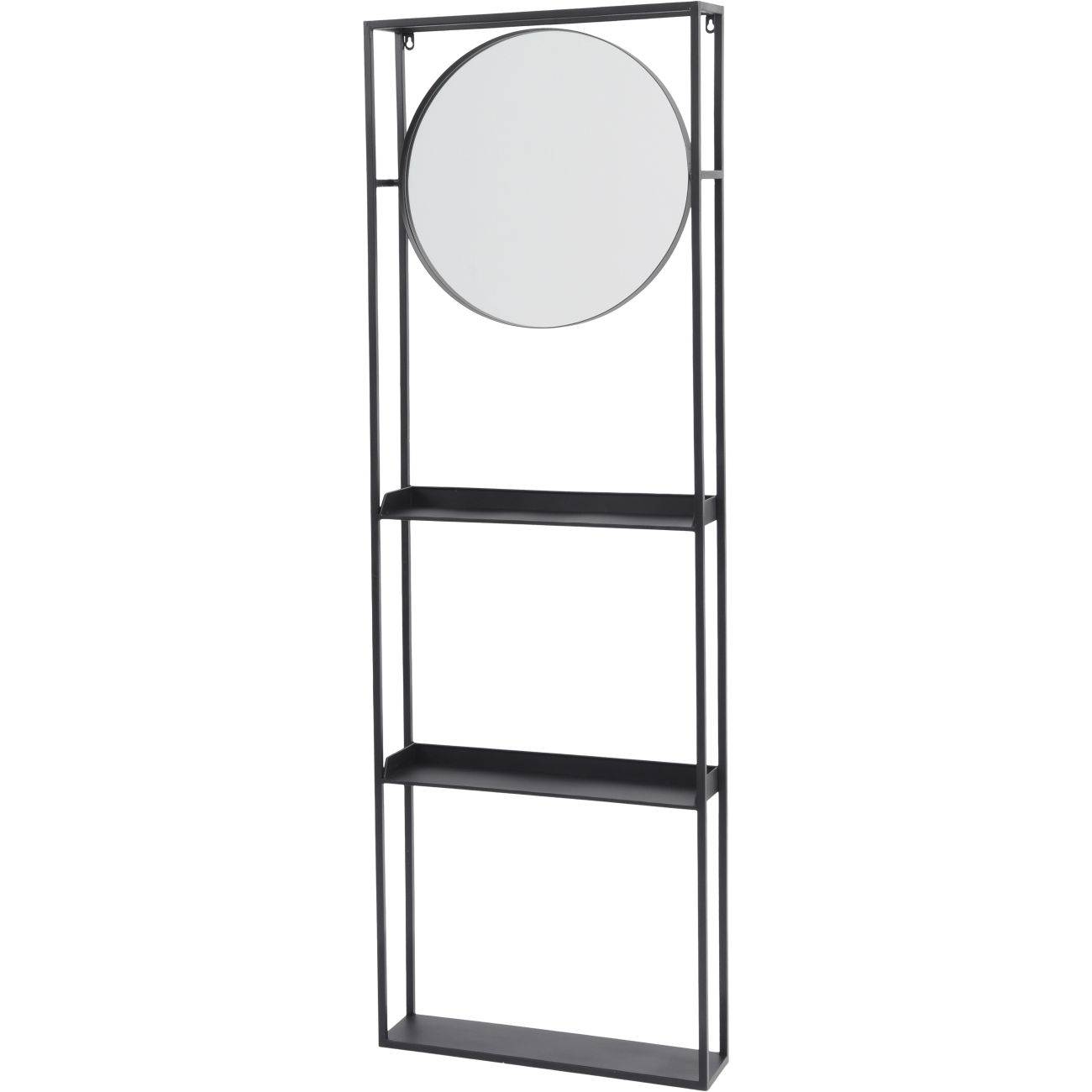 Black Metal Mirror and Shelving Storage Unit thumbnail
