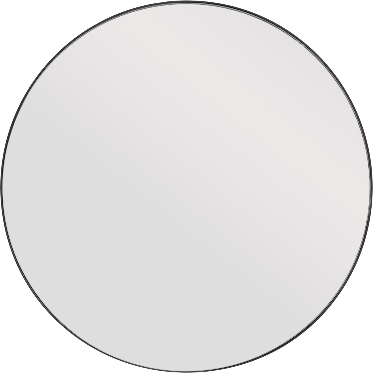 Round Mirror with Slim Black Metal Frame, Large thumbnail