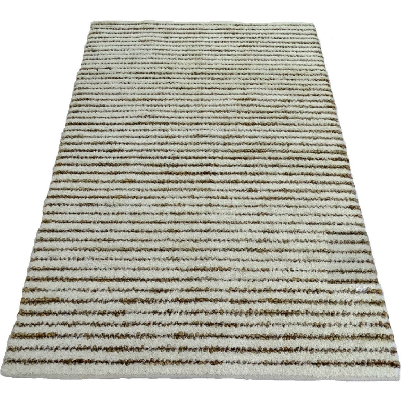 Striped Wool Rug In Ivory And Natural 180 x 120 cm thumbnail