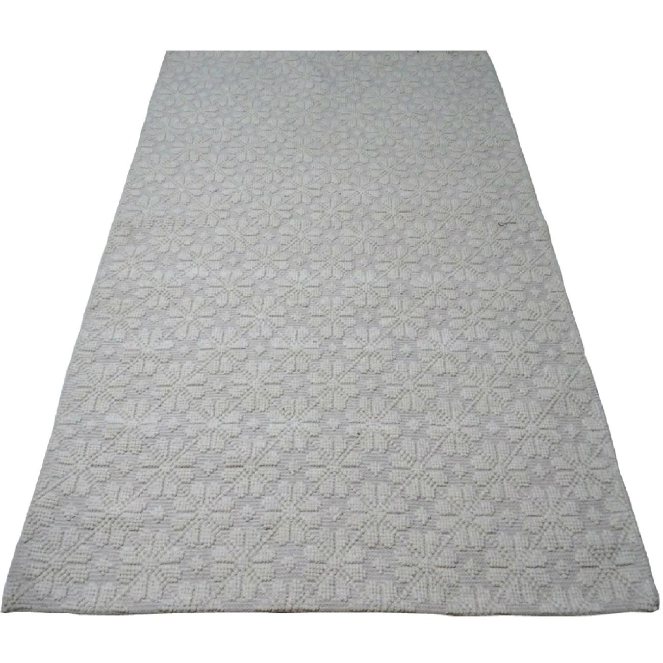 Flower Patterned Wool Rug In Ivory And Beige 230 x 160 cm thumbnail