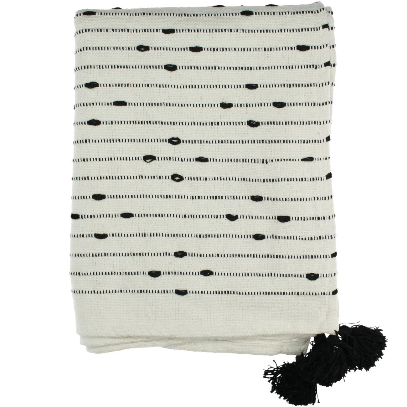 Plaid Cotton Throw in Black with Stitching and Tassel Detailing 130x170cm thumbnail