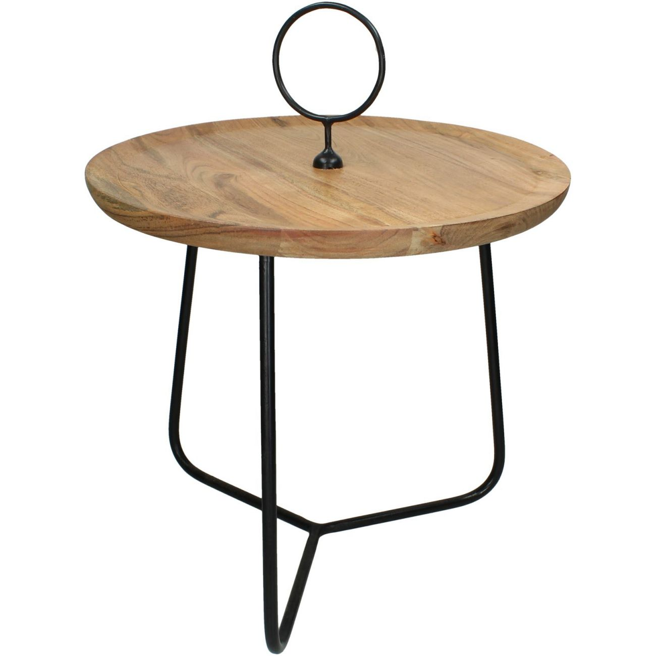Acacia Wood Table With Black Metal Frame, Small thumbnail