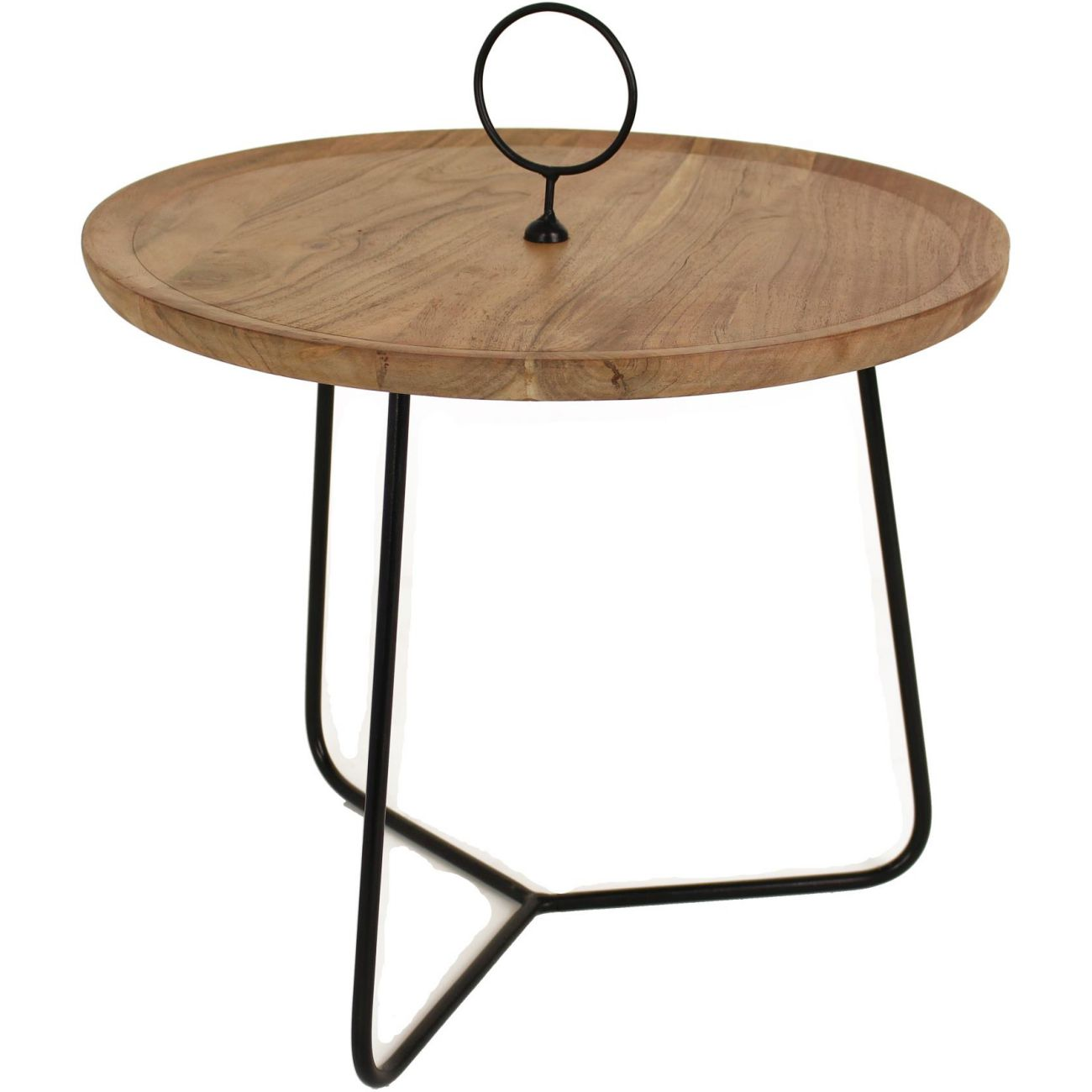 Acacia Wood Table With Black Metal Frame, Medium thumbnail