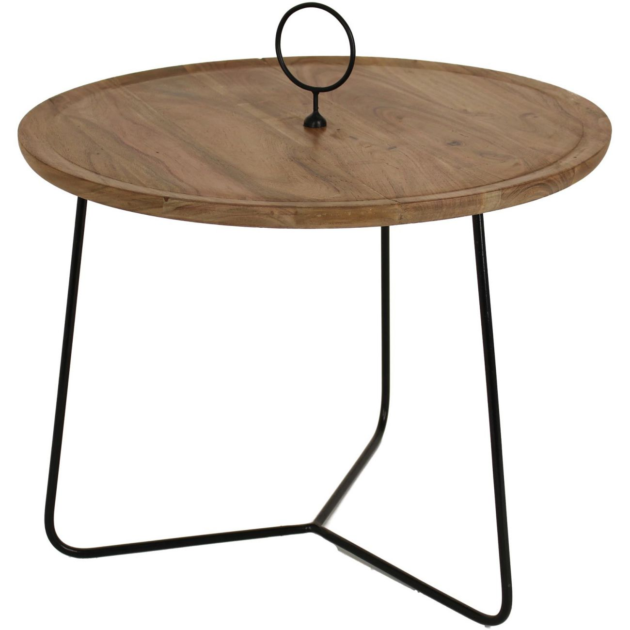 Acacia Wood Table With Black Metal Frame, Large thumbnail